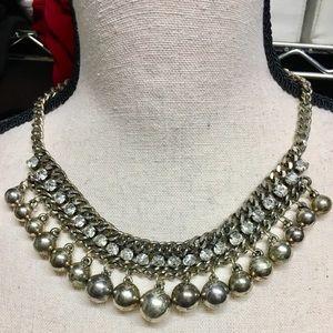 Silver tone & Rhinestone Necklace